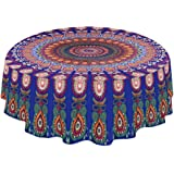 PowerKing Tablecloth,59 inch Washable Round Table Cover and Table cloth for Buffet Table, Parties, Holiday Dinner,Indian Mand