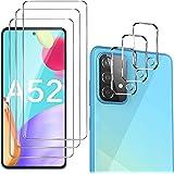 GESMA 3 Pezzi Vetro Temperato Compatibile con Samsung Galaxy A52, 3 Pezzi Protezione Lente Pellicola Posteriore, HD AntiGraff