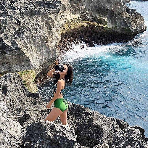 ZZNXYY High-Waist Bikini Damen Gedruckt Kleine Kommode Gathering Spa Zweiteilige Streifen Unterstützung Badeanzug L, Grün