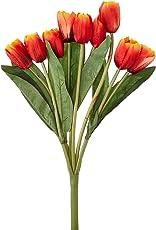 Fourwalls Artificial Polyester and Plastic Tulip Flower Bunch (10 cm x 10 cm x 36 cm, Peach)