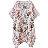 Zexxxy Floral para Mujer Cubierta de Playa Ups Chiffon Summer Kimono Cardigans 3/4 Tops de Manga