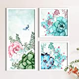Rose Flowers Framed Painting/Posters for Room Decoration, Set of 3 White Frame Art Prints/Posters for Living Room by Painting