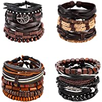 21PCS Mixed Wrap Braided Leather Wristbands Bracelets and Wood Beads Bracelet Set Pack Handmade for Men Women 7-8.5inches Adjustable (21)