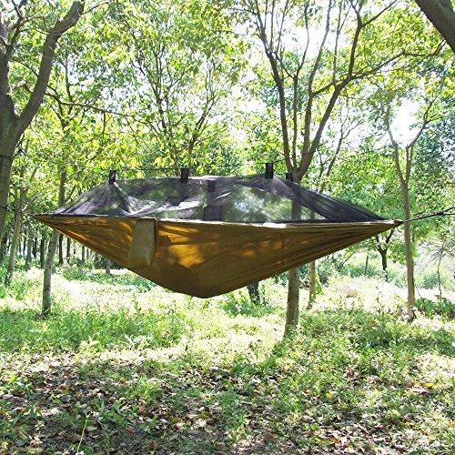 OneTigris Camping Hängematte mit Moskitonetz (inkl. Karabiner und Seile) Belastbarkeit 200kg - 7