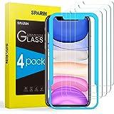 SPARIN Protector de Pantalla Compatible con iPhone 11 y iPhone XR, Cristal Templado con Marco de Alineación, 4 Piezas