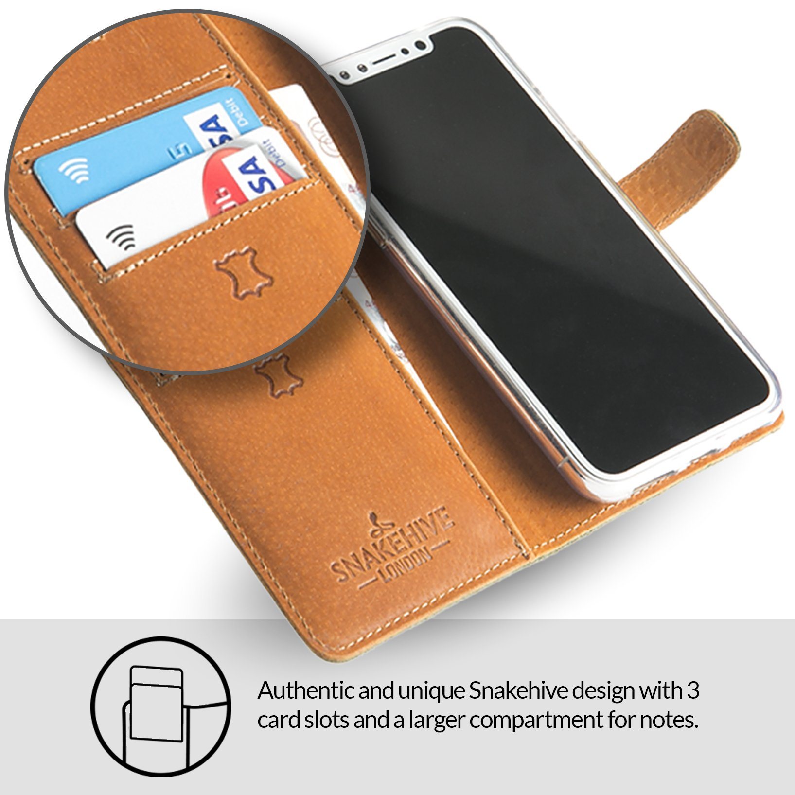 low priced 8c4f0 94214 Snakehive Apple iPhone XS Max, Genuine Leather Wallet with Viewing Stand  and Card Slots, Flip Cover Gift Boxed and Handmade in Europe for Apple  iPhone ...