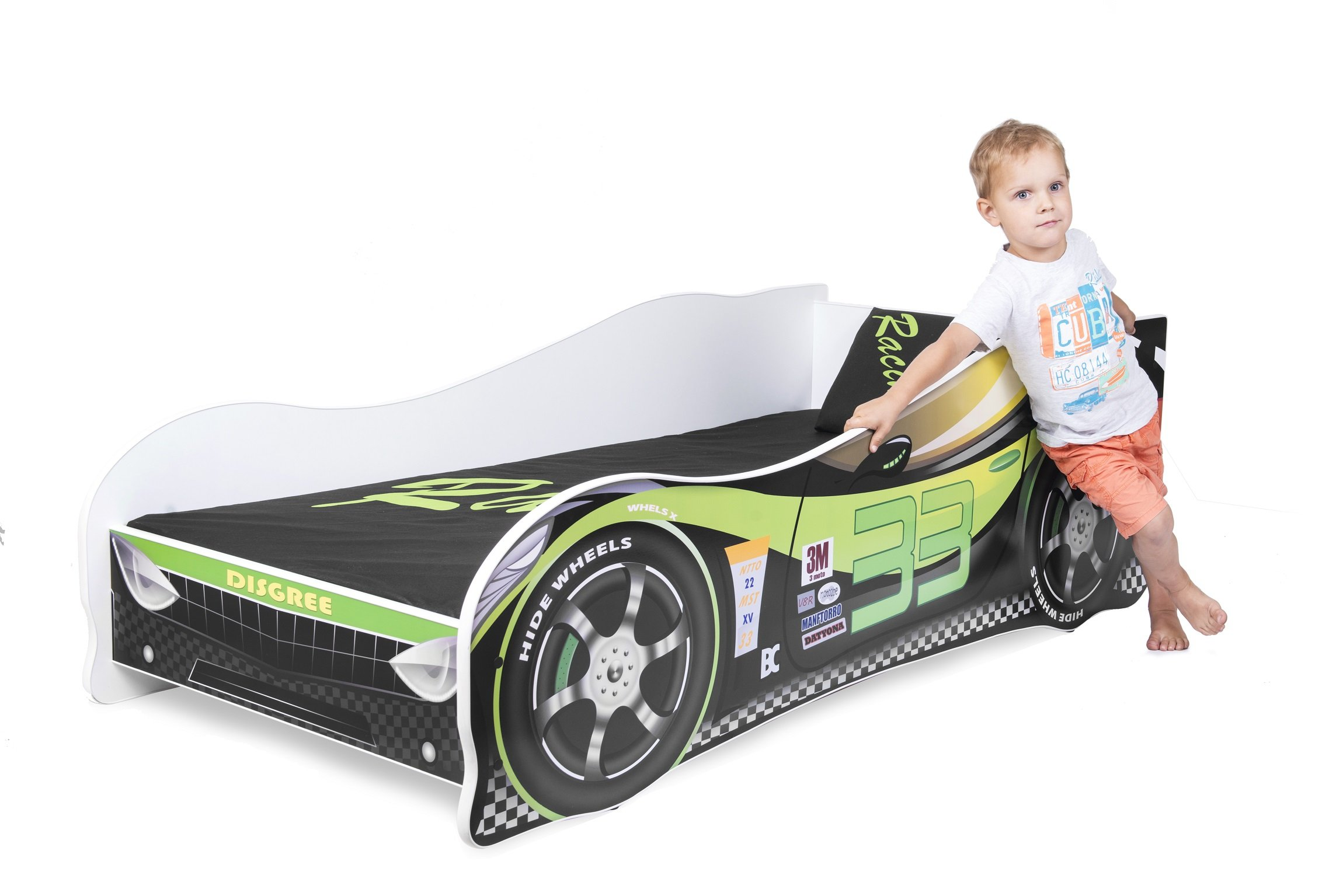 Sale +++ The Best Quality Baby Kids Bed Toddler Car Junior Bed with Mattress 140 x 70 cm 160 x 80 cm 180 x 80 cm (140x70cm Untill 5 Jears, Green) Nobiko Kids Bed + Foam Mattress in 3 Sizes: 140 x 70 cm untill 5 jears 160 x 80 cm untill 8 jears 180 x 80 cm untill 12 jears Greengard Gold - Product certified for law chemical emissions Ecologo - Product certified for reduced environmental impact 7