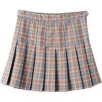 Yasong Women Girls Short High Waist Pleated Skater Tennis Skirt School Skirt Uniform with Inner Shorts