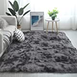 Modern Shaggy Rugs Fluffy Soft Touch Dazzle Sparkle Area Rug Carpet Large for Living Room Bedroom Floor Mat (Dark Grey,140 x