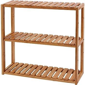Schuhregal aus Bambus Badregal ideal f/ür Diele Badezimmer Wohnzimmer Schlafzimmer Natur COSTWAY 2-st/öckige Schuhbank Schuhschrank Sitzbank