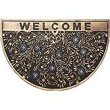H HANSEL HOME Felpudo para Puerta Entrada Bienvenida Goma Media Luna Antideslizante 75x45x1 cm