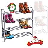 GEMITTO Étagère à Chaussures, 4 Niveaux Robuste Porte-Chaussures Métal Extensible, Meuble chaussures pour 20 paires de chauss