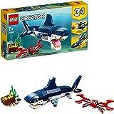 LEGO Creator Creature degli Abissi: Squalo, Granchio e Calamaro o Rana Pescatrice, Set da Costruzione 3 in 1 per Avventure Ma