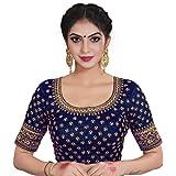 XOMANTIC FASHION Satin Silk Embroidered Work Readymade Saree Blouse