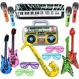 MEJOSER Pack de 15pcs Guitarra Inflable Instrumentos Musicales Juguetes + Gafas Persiana Fiesta Divertidas Disfraz Fiesta Cum