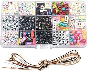 Ewparts Kinder DIY Armband Buchstaben Perlen, Acryl Alphabet Buchstaben Perlen für Schmuck machen, Armbänder, Halsketten, Schlüsselanhänger und Kinder Schmuck