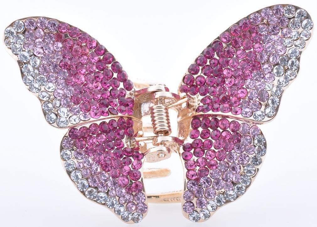 metallo tono oro regalo Bella Donna Farfalla capelli morsetto con Strass in 5colori