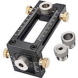Houtbewerking Doweling Jig, 2-in-1 verstelbare houtbewerking boren Puncher Locator, 4-Hole 6/8/10/12mm Pin Armatuur Houtbewer