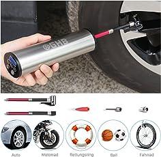GHB Autoghost Mini Auto-Luftpumpe Elektrischer Luftverdichter für Fahrrad Ball Ballon 150 PSI Portabel Aufladbar mit LCD-Display