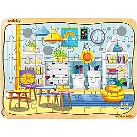 Webby Kids Room Wooden Jigsaw Puzzle, 40Pcs