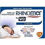 Rhinomer by Breathe Right - Tiras nasales clásicas para la congestión nasal, tamaño grande - 30 unidades, Tono Claro