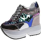 Scarpe con Zeppa per Donna Patchwork Colorate Paillettes Antiscivolo Scarpe Grosse con Lacci Scarpe da Ginnastica Leggere da