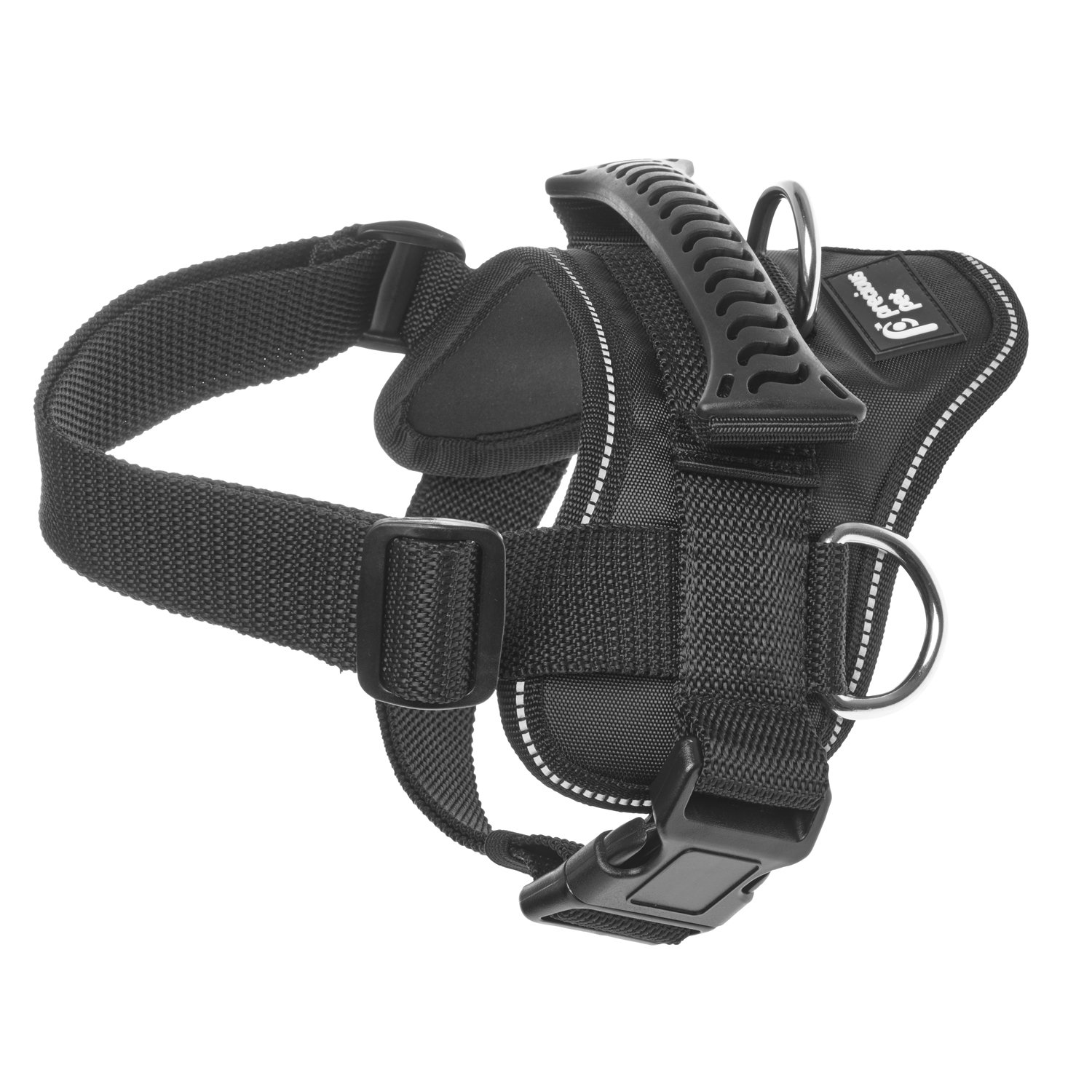 Precious Pet Heavy Duty Dog Harness with Handle, No Pull No Choke, Padded, Waterproof, with Adjustable Straps & Quick Release Buckle, Black (Medium)