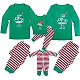 Tianhaik Pijamas de Navidad Familia Manga Larga navideños a Juego para Hombres, Mujeres, niños, bebés, Elfos, Ropa de Dormir,
