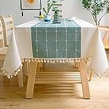 J-MOOSE Nappe de Table rectangulaire en Coton et Lin Solide Broderie À Carreaux Gland Coton Couverture De Table en Linge pour