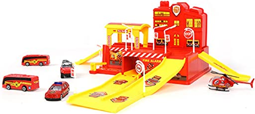 IndusBay Fire Station Fireman Rescue Team Garage Parking Lot Toy Set with Die Cast Vehicles Helicopter Jeep Bus and Accessories