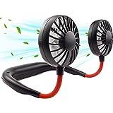 Portable Neck Fans, Personal Neckband Fan Rechargeable Head Fans for Face, Headphone Wearable USB Neck Round Fan, 3 Speed Adj