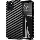Tasikar Funda iPhone 12/Funda iPhone 12 Pro Funda de Cuero de Carbono y TPU Compatible con iPhone 12 & iPhone 12 Pro (Negro)