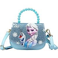 K-ONESEEYOU Elsa Mädchen Taschen Pailletten Geldbörse Frozen 2 Eiskönigin Kinder Glitzer-Handtasche Umhängetasche mit…