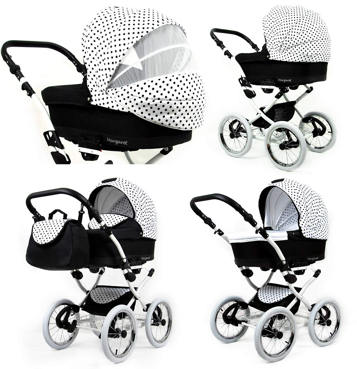 Travel System Retro Stroller Pram 2in1 3in1 Set Isofix Nostalgica by SaintBaby Navy Blue Star 2in1 Without Baby seat SaintBaby 3in1 or 2in1 Selectable. At 3in1 you will also receive the car seat (baby seat). Of course you get the baby tub (classic pram) as well as the buggy attachment (sports seat) no matter if 2in1 or 3in1. The car naturally complies with the EU safety standard EN1888. During production and before shipment, each wagon is carefully inspected so that you can be sure you have one of the best wagons. Saintbaby stands for all-in-one carefree packages, so you will also receive a diaper bag in the same colour as the car as well as rain and insect protection free of charge. With all the colours of this pram you will find the pram of your dreams. 3