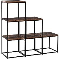 HOMCOM Étagère bibliothèque séparateur de pièce Style Industriel modulable 6 étagères métal Noir MDF Aspect Vieux Bois…