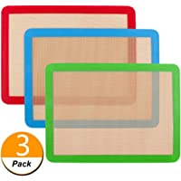Silicone Baking Mat,NonStick Baking Mats (x3) Non-Slip Washable Reusable Heat Resistant, Non-Toxic, Flexible, Non-Stick, Easy to Clean Baking Sheet(16.5