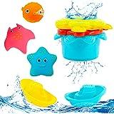 Hyselene 9 juguetes de baño para bebé a partir de 1 año, juguetes para bañera, juguetes para niños en la bañera con 3 tipos y