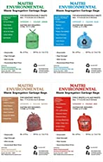 "4 COLOR WASTE SEGREGATION COMBO WET WASTE (17""X23""),DRY WASTE (17""X23""), SANITARY WASTE(17""X23"") AND E WASTE(17""X23"") GARBAGE BAGS TOTAL QTY 212 PCS"