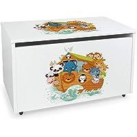 Leomark Contenitore portagiochi in legno, Grande baule per giocattoli, panca su ruote, scatola con coperchio, cassapanca…
