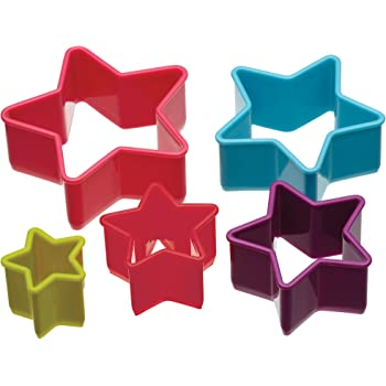 KitchenCraft Colourworks Set of 5 Plastic Star Shaped Cookie Cutters
