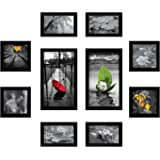Amazon Brand - Solimo Collage Set of 10 Black Photo Frames (4 X 6 Inch- 4, 5 X 5 Inch - 4 & 6 X 10 Inch - 2)