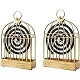 GUOXIANG Lot de 2 Supports de bobines de Fumage en Forme de Spirale, dorés et créatifs, pour Cages à Oiseaux, Cages à Moustiq