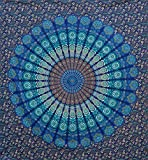 Raajsee Indisch Psychedelic Wandteppich Mandala Blau Turquoise Tapestry/ Elefant Boho Wandtuch Hippie/ Mehrfarbige Indischer Wandbehang Tuch Twin 54x82 Inch/Indien baumwolle Wand tucher 140x210 cm