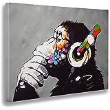 Giallobus - Schilderij - Banksy - Dj aap - Tela canvas - 100x70