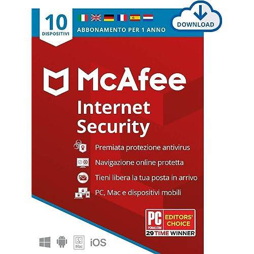 McAfee Internet Security 2021, 10 Dispositivi, 1 Anno, Software Antivirus, Gestore di Password, Sicurezza Mobile , PC/Mac/Android/iOS, Edizione Europea, Codice d'Attivazione via Email
