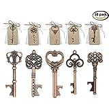 Set di 50 chiavi apribottiglie per decorazione di sacchetti per bomboniere di matrimonio, stile vintage, 5 stili