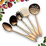 HOMQUEN Set ustensiles de Cuisine en Acier Inoxydable - Cuivre 5 Ustensiles de Cuisine, Set dustensiles de Cuisine Antiadhési