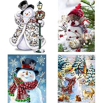 SanerDirect 4 Pack 5d DIY Snowman Diamond Painting Kits Full Drill Paint with Diamonds Christmas Kits 12x16 inches
