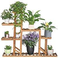 Balcone Supporto in Legno per Piante e Bonsai UNHO per Interni ed Esterni Patio 116,8 x 25,4 x 116,8 cm per Giardino