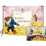 BINQOO Fondo de la fiesta de cumpleaños de la belleza y la bestia de 2,1 x 1,5 m, foto Beaty Pincess feliz cumpleaños fotogra